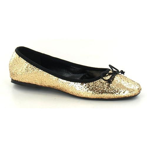 85996ac9427 Star - Bailarinas Brillantes con Lazo y Puntera Cuadrada para Mujer (36 Oro)