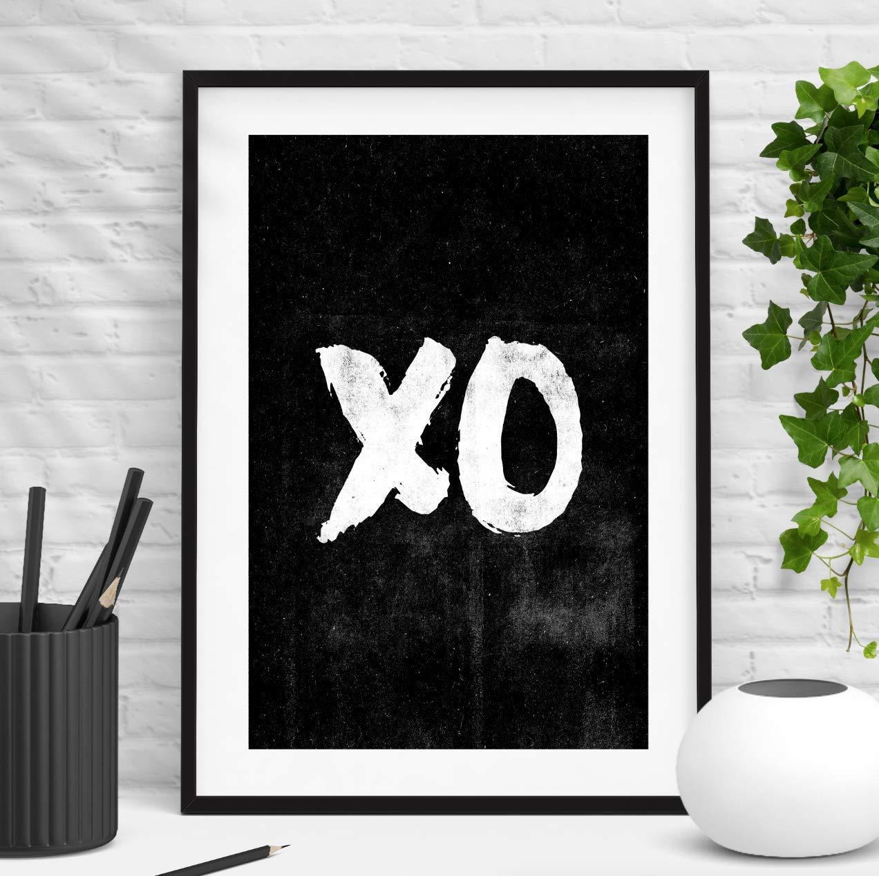 XO Hugs and Kisses XOXO Inspirational Wall Art Print Home Decor Typography Poster Black and White Bedroom Decor