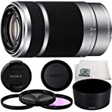 Sony E 55-210mm f/4.5-6.3 OSS E-Mount Lens (Silver) (White Box) with 3 Piece Filter Kit (UV+CPL+FLD) & Microfiber Cleaning Cloth - SEL55210