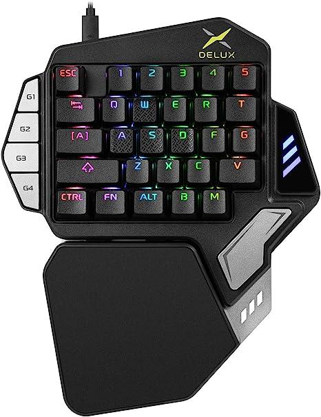 Delux T9X Teclado mecánico para juegos de una mano con teclas macro totalmente programables RGB teclado ergonómico para Fornite y PUGB Gamer