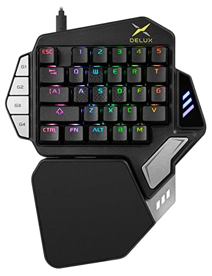 74d1e8a77ec Delux Wired Programmable One Handed Mechanical Gaming Keyboard, Advanced  Ergonomic Single Handed Gaming Keypad with