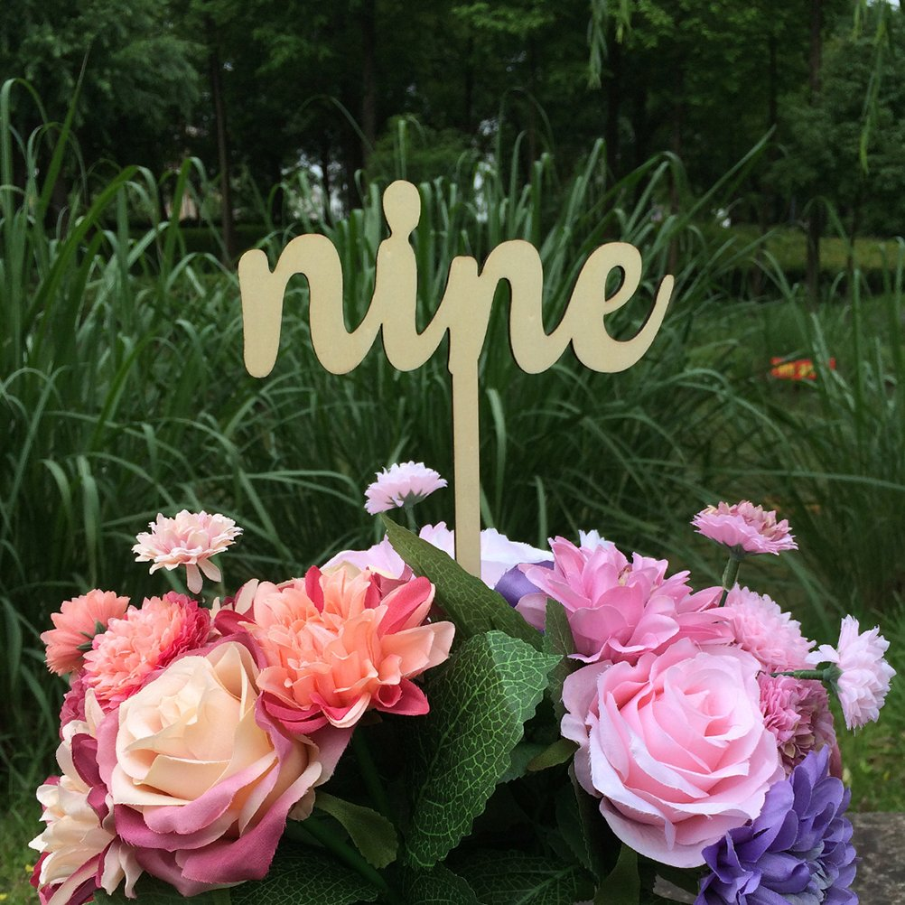 Wood Color Fenical Wedding Table Number Holders 1-10,10pcs