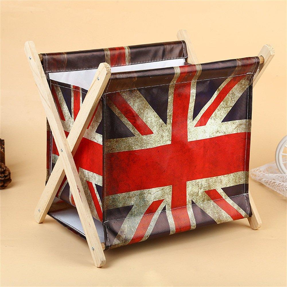 Foldable Storage Baskets - Waterproof Canvas & Pine Wood Storage Bins Square Storage Basket Wooden Shelves Storage for Toys, Desks, Makeup (British flag) by TOPCHANCES (Image #1)