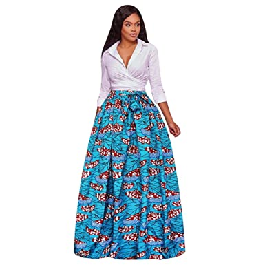 HCFKJ 2017 Mode Damen Frauen Dashiki Print Chiffon hohe Taille Party ...