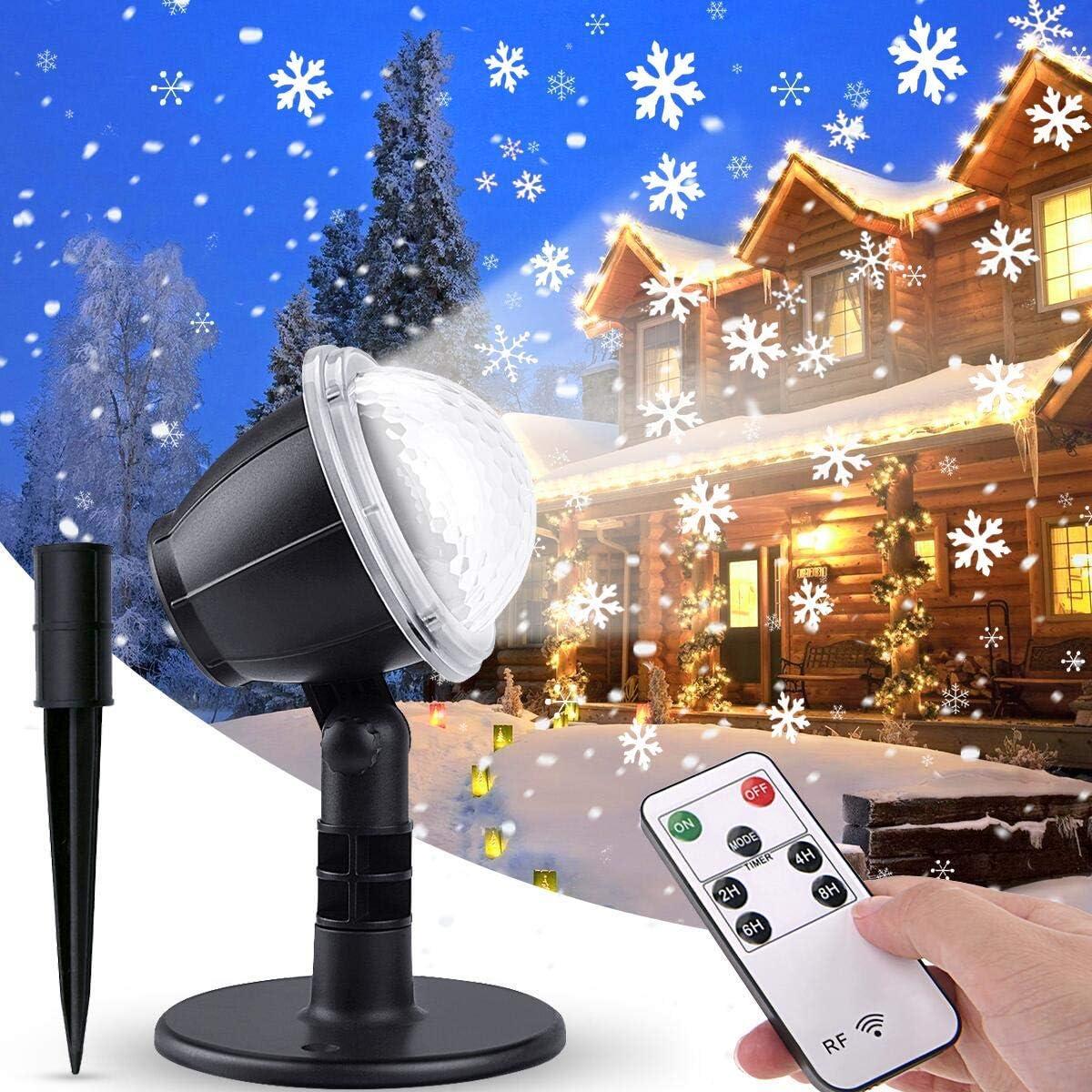 Party VIFLYKOO LED Projektionslampe,LED Schneeflocke Projektorlampe IP65 Wasserdicht Snowflake Projektor Schneefall Lichter Effekt mit Fernbedienung Dekoration f/ür Weihnachten Hochzeit