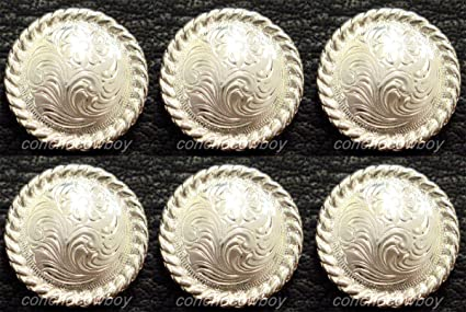 Set of 6 WESTERN HORSE SADDLE TACK BRIGHT SILVER ENGRAVED ROPE EDGE CONCHOS 1/""