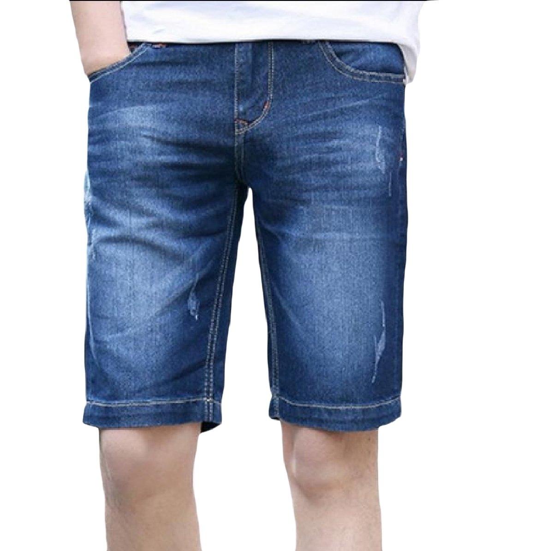 Abetteric Mens Half Pants Summer Relaxed-Fit Fine Cotton Washed Denim Pants Blue 26