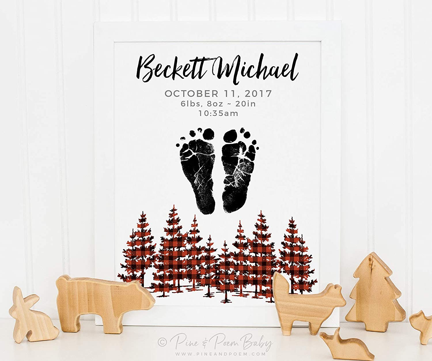 Arvier Buffalo Plaid Nursery Birth Announcement Wall Art Woodland Nursery Decor Personalized with your Babys Footprints Framed Wall Art