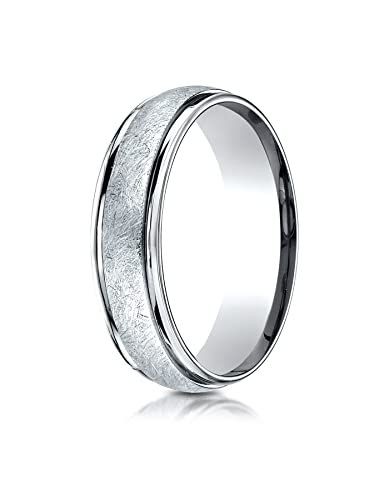 14k All White Gold 6mm Comfort Fit Swirl Carved Design Wedding Band