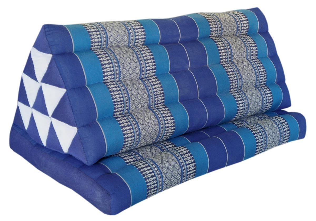 Thai triangle cushion XXL, with 1 folding seat, blue, sofa, relaxation, beach, pool, meditation, yoga, made in Thailand. (82216) by Wilai GmbH