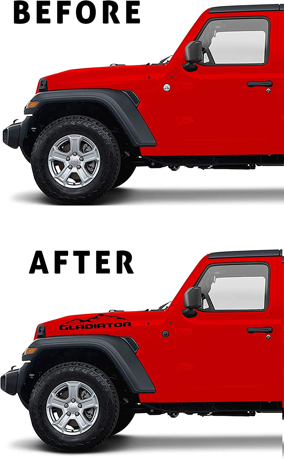 Gladiator with Mountain iWrap NY Satin Black Jeep Gladiator Vinyl Hood Decal Sticker Letters