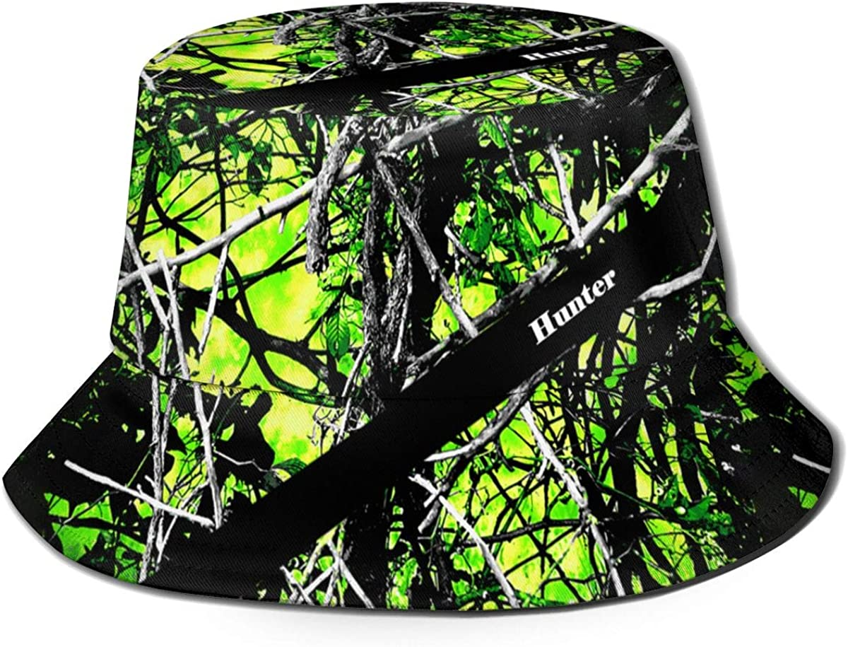 Green Camo Buket Hat,Fisherman Print Caps,Designed Wide Brim Fishing Hunting Beach Sun Hat for Men Women