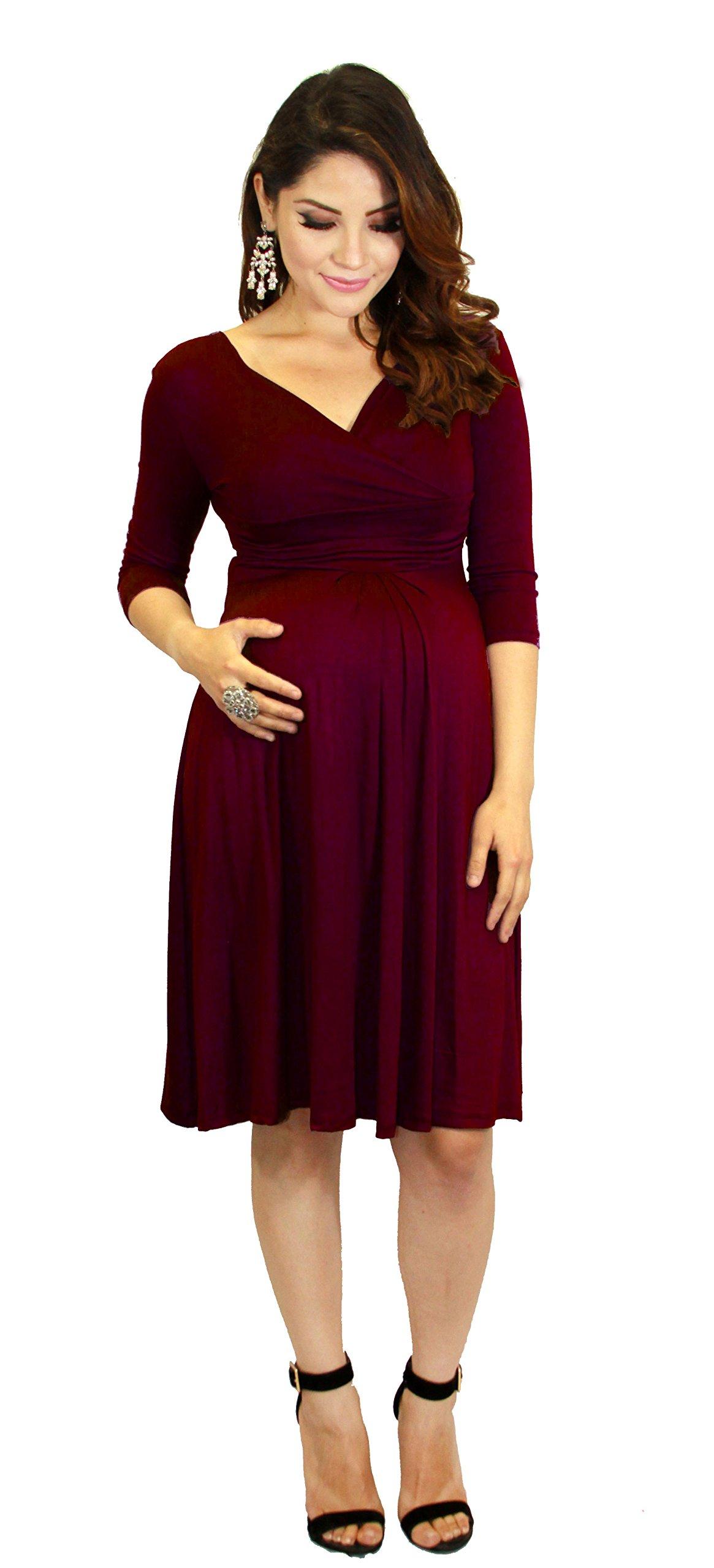 Long Sleeve Maternity Dress Knee Lenght Wedding BabyShower (m, burgundy)