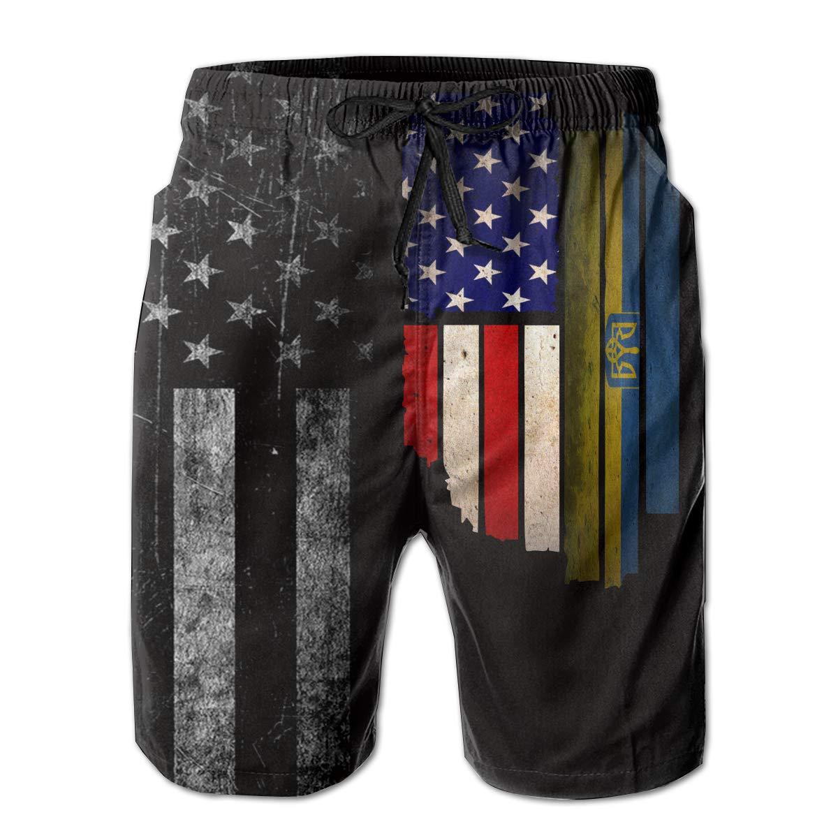 Mens Vintage USA Ukraine Flag Board Shorts Beach Pants