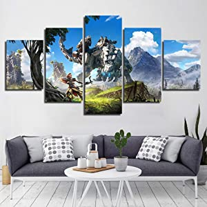 HSART Modular Canvas Printed Painting Horizon Zero Dawn 5 Panel Home Decor Wall Art Pictures Modern Video Game Poster for Living Room,A,20x30x2+20x50x1+20x40x2