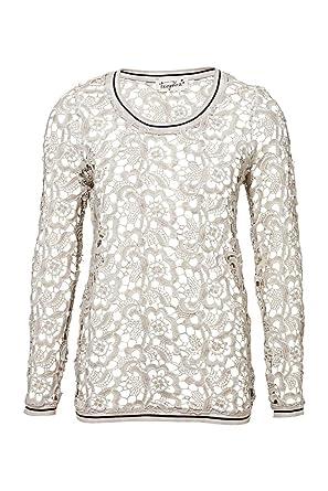 2fdc7f50dcb6 Frogbox Damen Shirt Langarmshirt LACE, Farbe  Beige, Größe  34  Amazon.de   Bekleidung