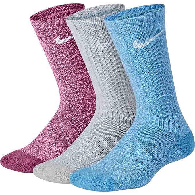 Nike Calcetines Performance Cushioned Crew Training (3 Pair) azul/negro/rosa talla