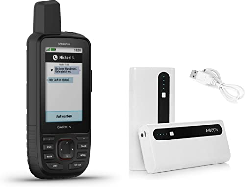 Garmin GPSMAP 66i GPS Handheld and Satellite Communicator and Aibocn 10,000mAh Portable Battery Charger Bundle 010-02088-01