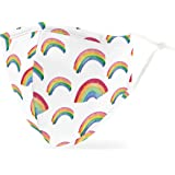 Weddingstar Washable Cloth Face Mask Reusable and Adjustable Protective Fabric Face Cover w/Dust Filter Pocket - Rainbow
