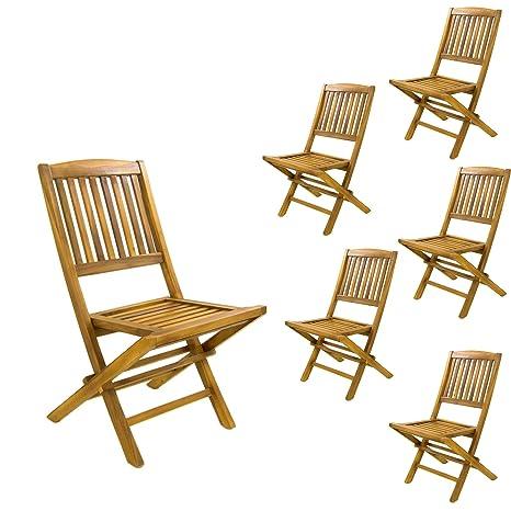 Pack 6 sillas jardín Teca Plegables, Madera Teca Grado A, Tamaño: 51x55x90 cm, Tratamiento al Agua aplicado