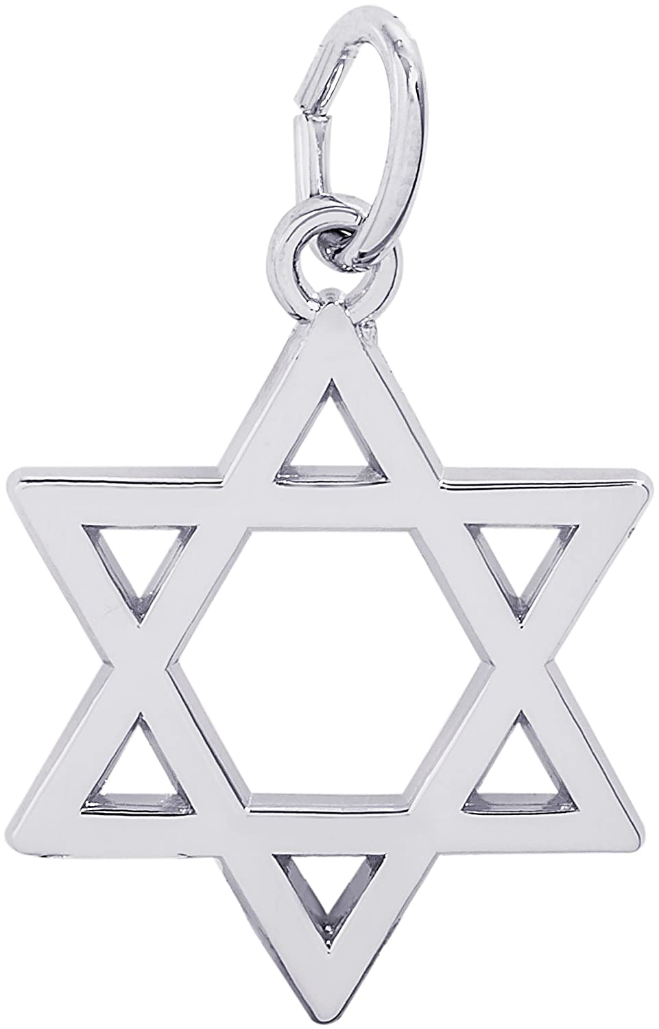 Rembrandt Sterling Silver Star of David Charm on a Sterling Silver Rope Chain Necklace