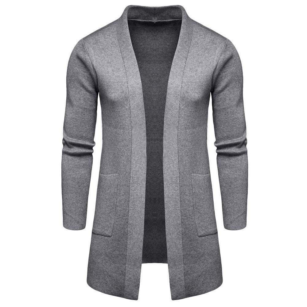 Kaniem Business Cardigan,Mens Slim Fit Cut Open Front Cardigan Sweater with Pockets Coats (L, Gray) by Kaniem