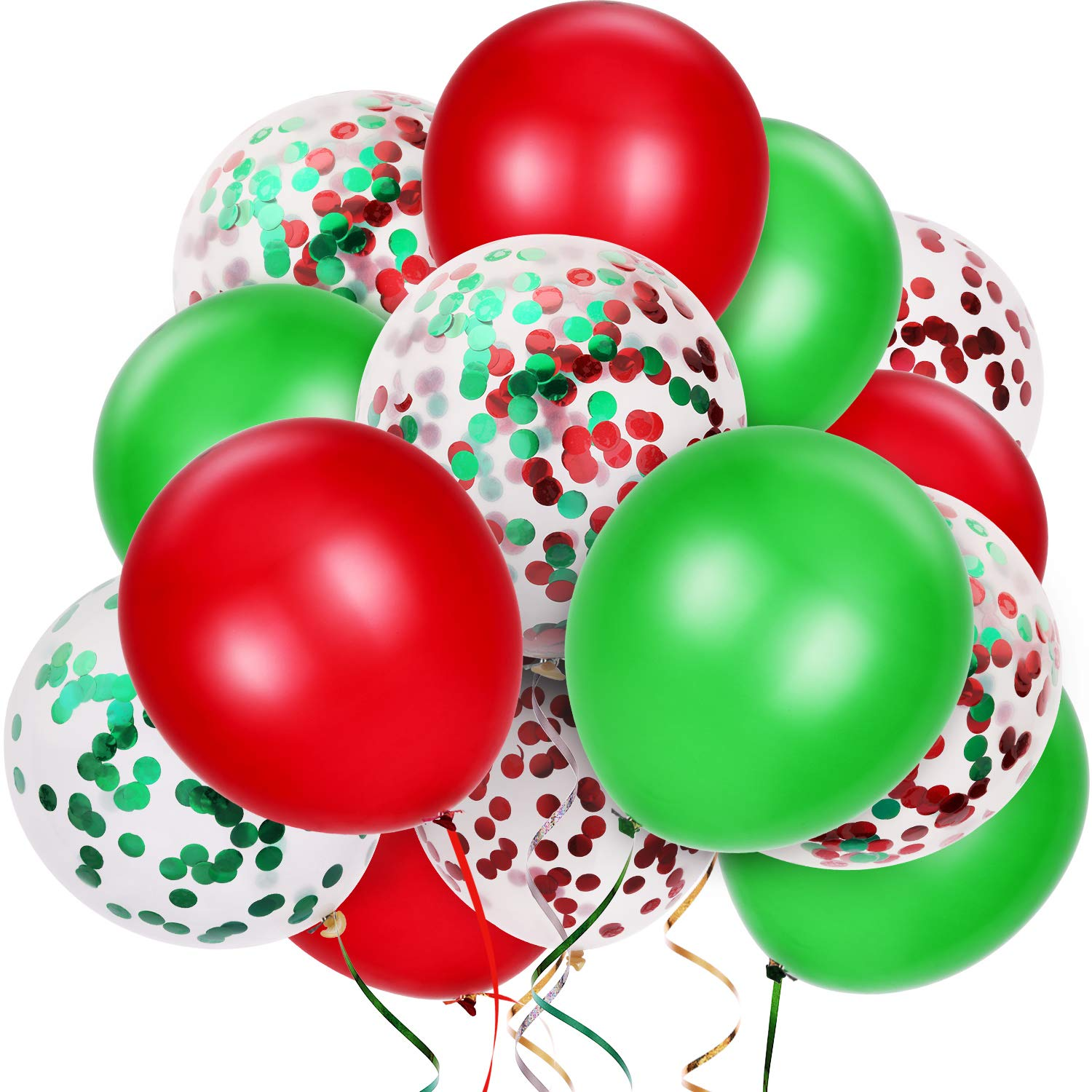 TecUnite 80 Pieces Christmas Balloons Red and Green Confetti Balloons Latex Balloons for Xmas Party Decoration, 12 Inches