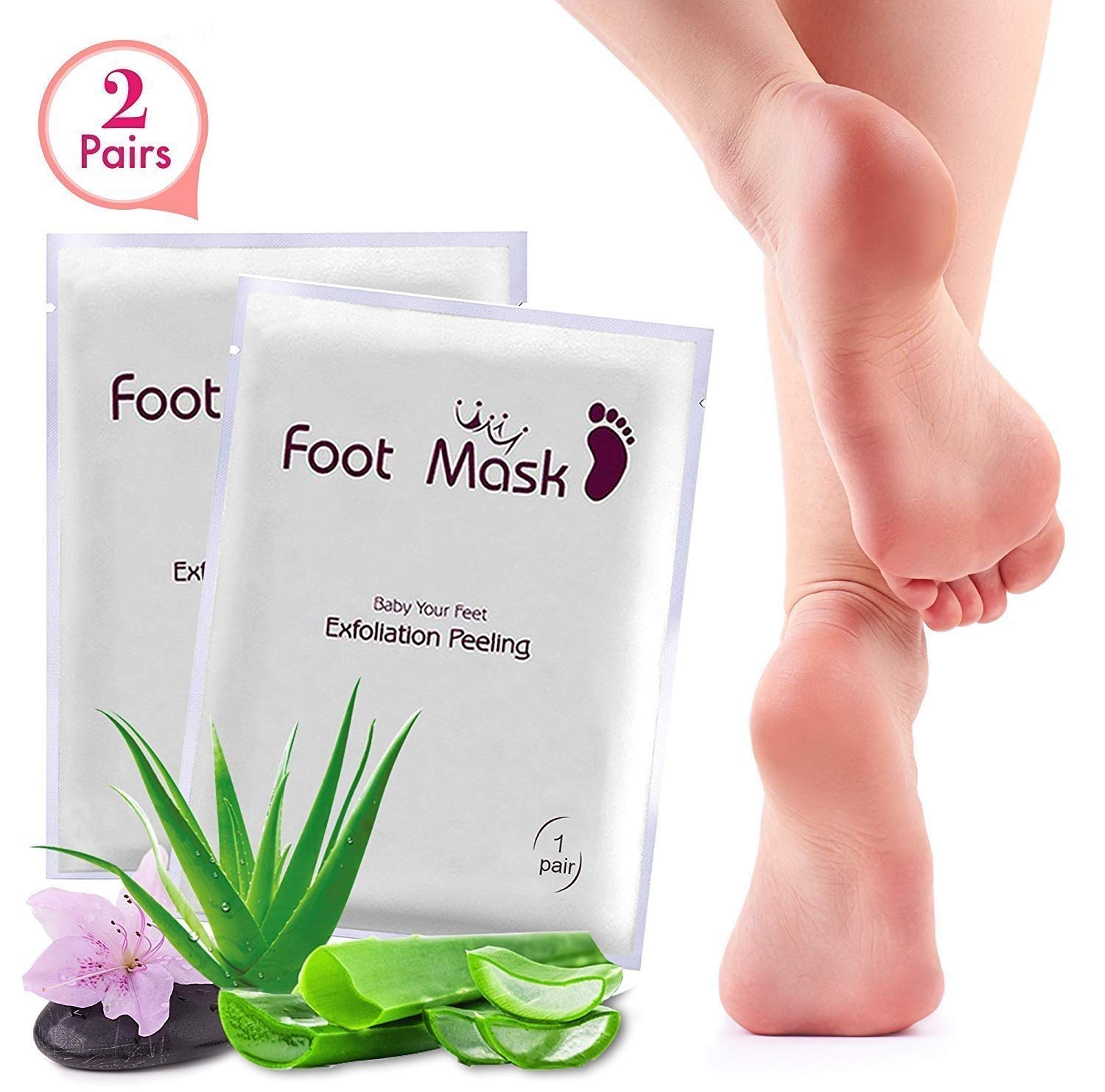 Exfoliating Foot Peel Mask For Softer, Smooth Feet- Gently Peel Away Calluses & Dead Skin, Repair Rough Heels, Get Beautiful Baby Feet in 7 Days (2 Pack) Tomiya IMP63T/NT63T