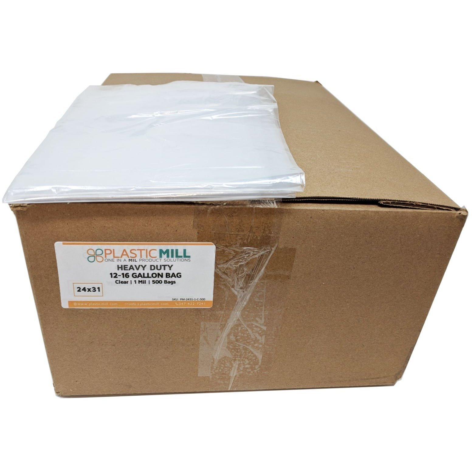 PlasticMill 12-16 Gallon, Clear, 1 Mil, 24x31, 500 Bags/Case, Garbage Bags/Trash Can Liners.