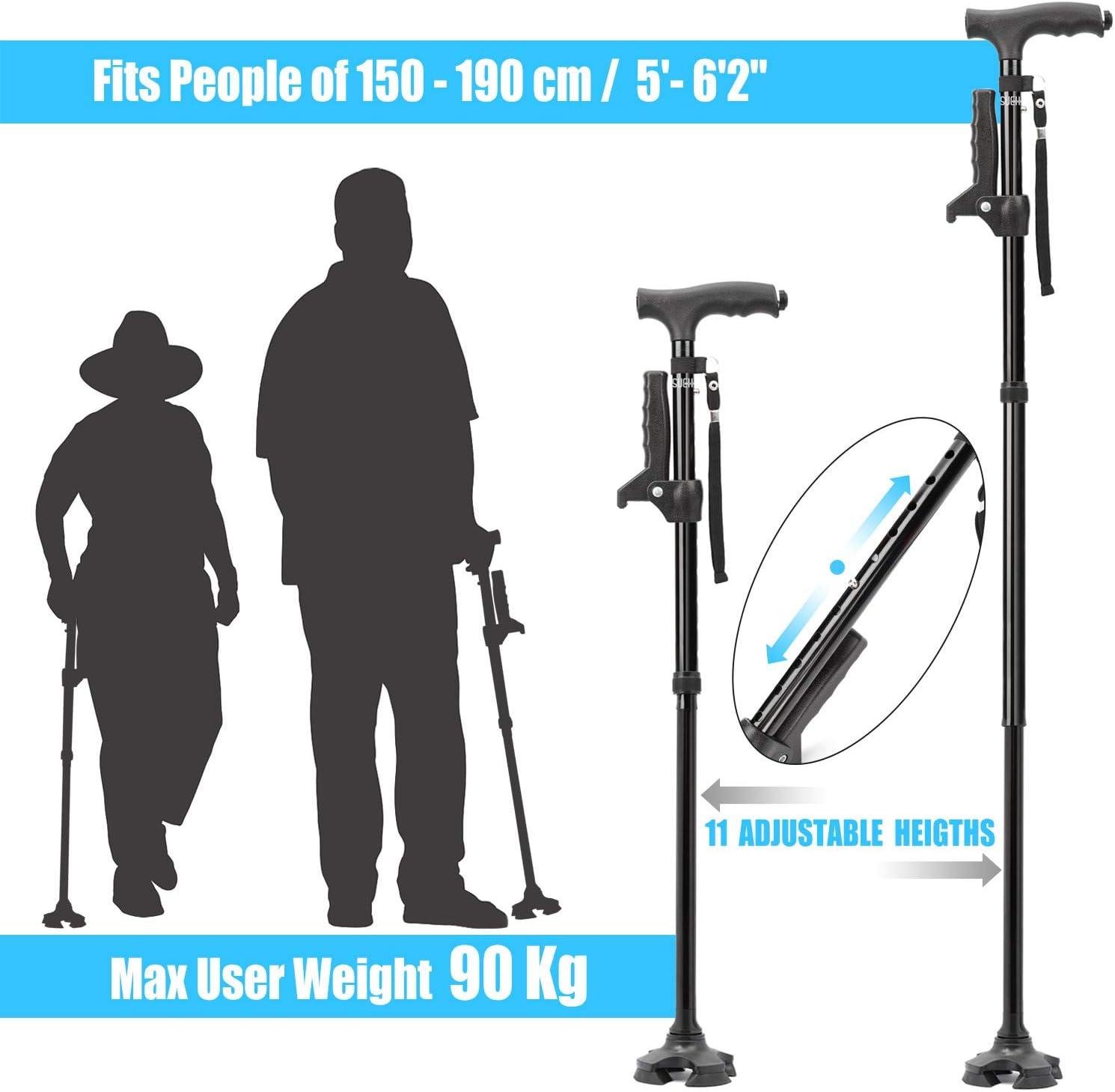 SueH Design Bastón Plegable para Hombres y Mujeres con luz LED y ...