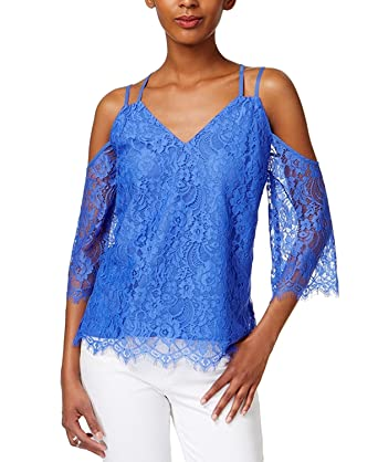 15c22d096aa91c Bar III Womens Cold Shoulder Lace Pullover Top at Amazon Women s Clothing  store