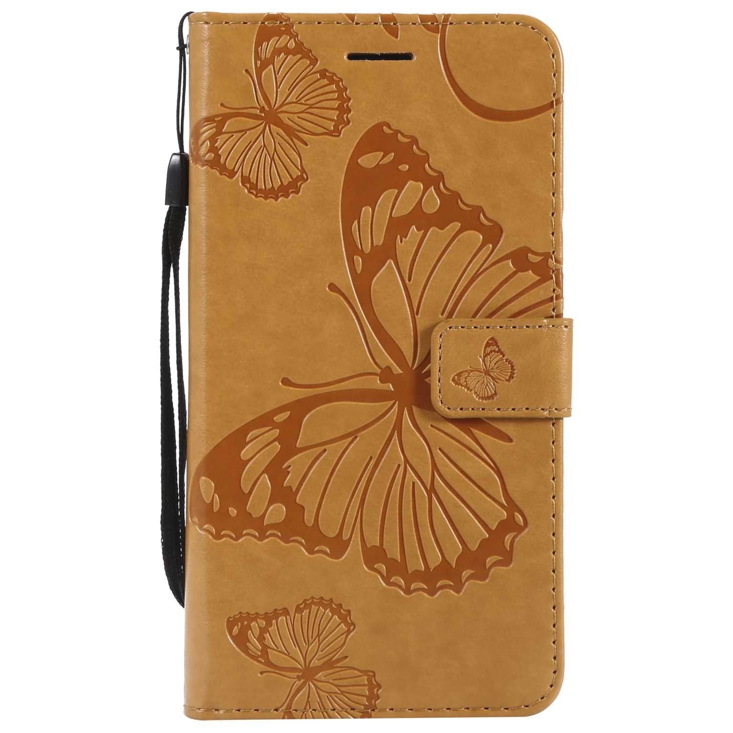CUSKING Case for Samsung Galaxy J7 2016, Leather Flip Cover Magnetic Wallet Case with Butterfly Embossed Design, Case with Card Holders and Kickstand - Yellow