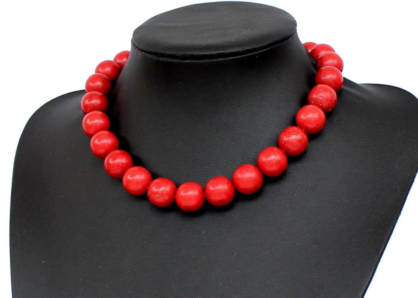 Red Turquoise Stone Beaded Necklace Chunky Necklace Turquoise Necklace Statement Necklace