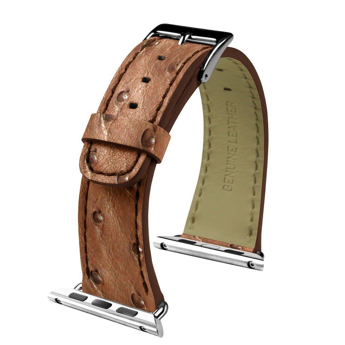 Lucrin - Apple Watch armband 42 mm - Tabak - Echtem Straussenleder