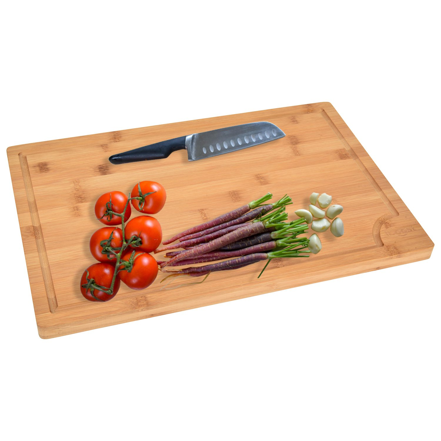 "iBoost EXTRA LARGE Organic Antibacterial 100% Bamboo Natural Professional Grade Extra Large Wood Cutting Board and Serving Tray 18"" x 12""x 3/4"""
