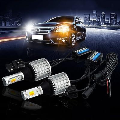 SOCAL-LED 2x T20 7440 LED Bulb Switchback Extremely Bright 30W 3000LM COB High Power DRL Turn Signal Light Kit, Canbus Error Free LED Decoder Resistor, White/Amber: Automotive