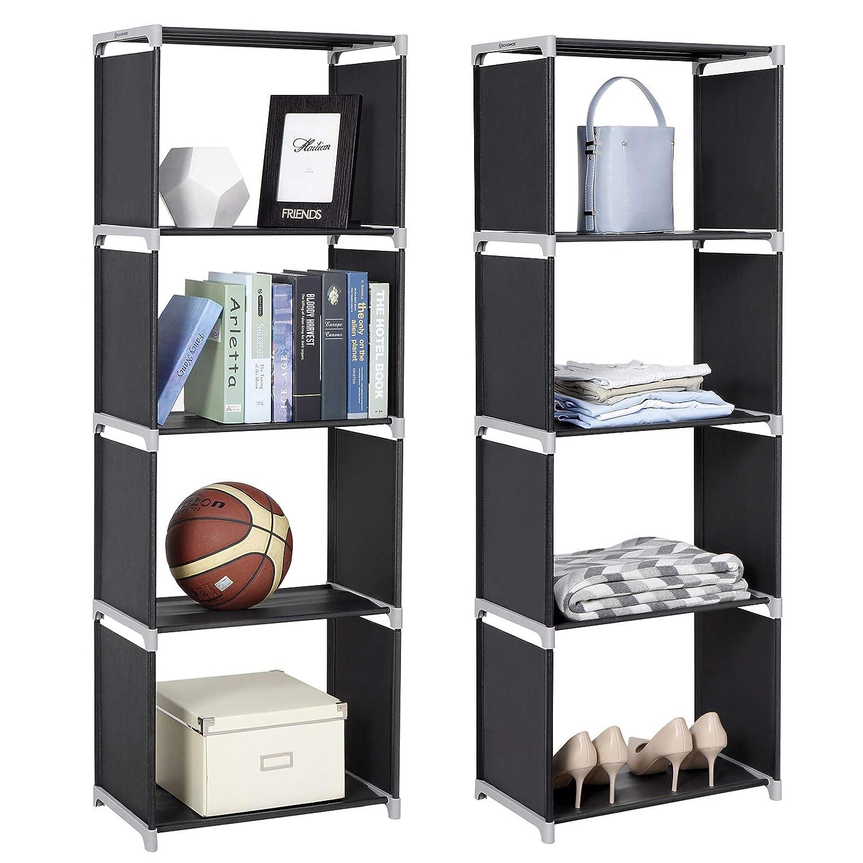 SONGMICS LSN14H - Estantería de pie con 4 Compartimentos (147 x 50 x 30 cm, para Cocina, Pasillo, vestíbulo, sótano o despacho, Tela, 50 x 30 x 147 ...
