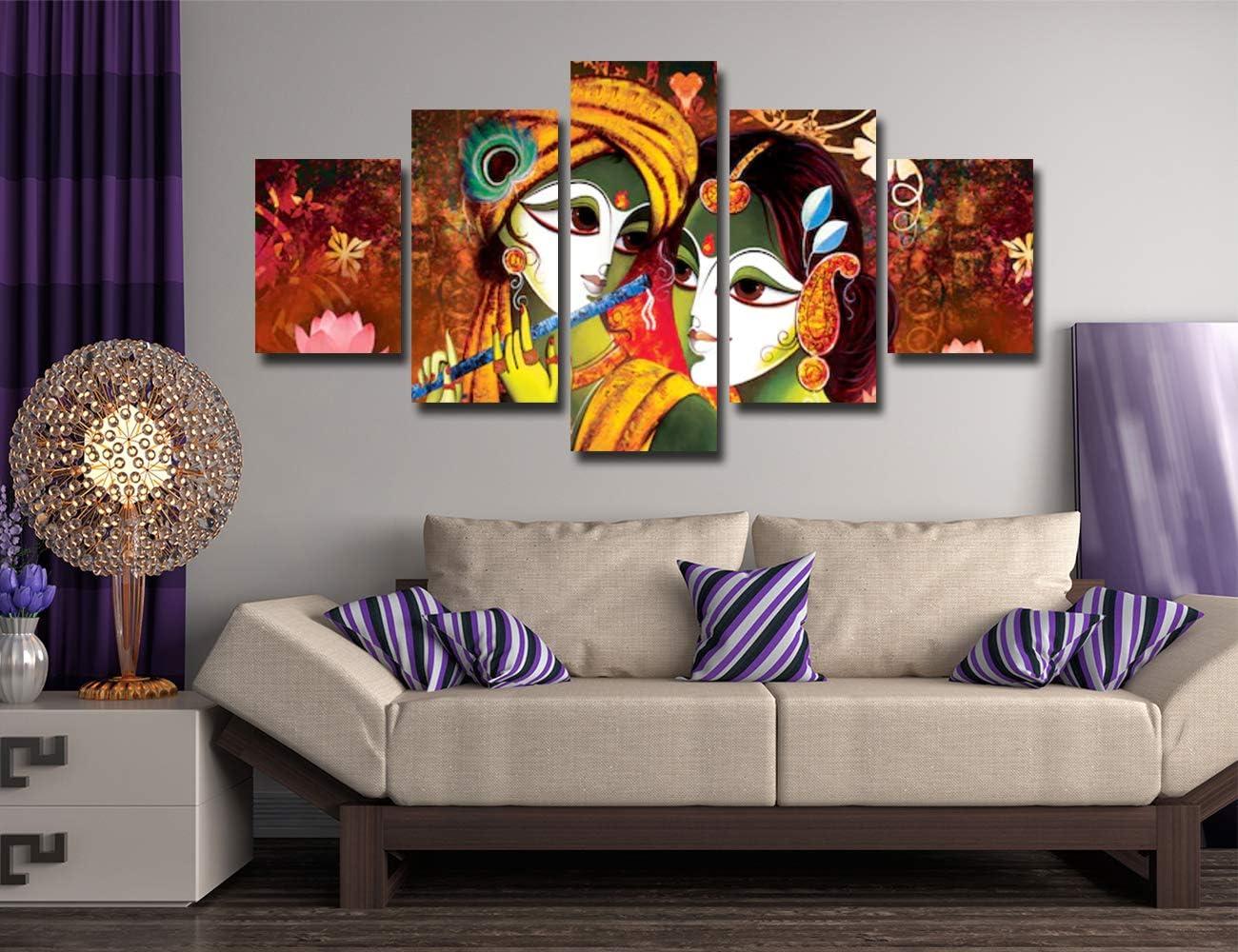 Radha Krishna Art Painting 5 Panels Image for Living Room Walls #360 HKTPIC-UK