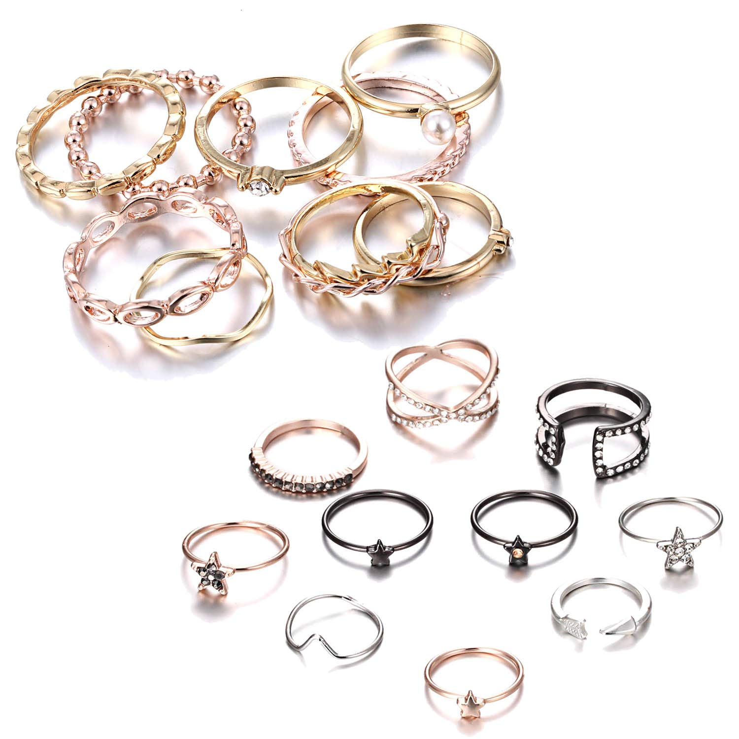 RINHOO FRIENDSHIP 10PCS Bohemian Retro Vintage Crystal Joint Knuckle Ring Sets Finger Rings (Gold|+ Star)