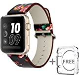 Solomo Apple Watch Band, [Flower Series] Leather Fresh Pastoral Style Replacement iWatch Strap Women/Girls Wristband with Stainless Metal Clasp for Apple Watch Series 3, Series 2/1 (38MM Black red)