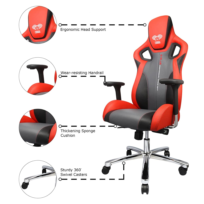 E-Blue Silla Gaming Racing para Oficina Ergonómica Ordenador Escritorio Ejecutivo - Rojo: Amazon.es: Hogar