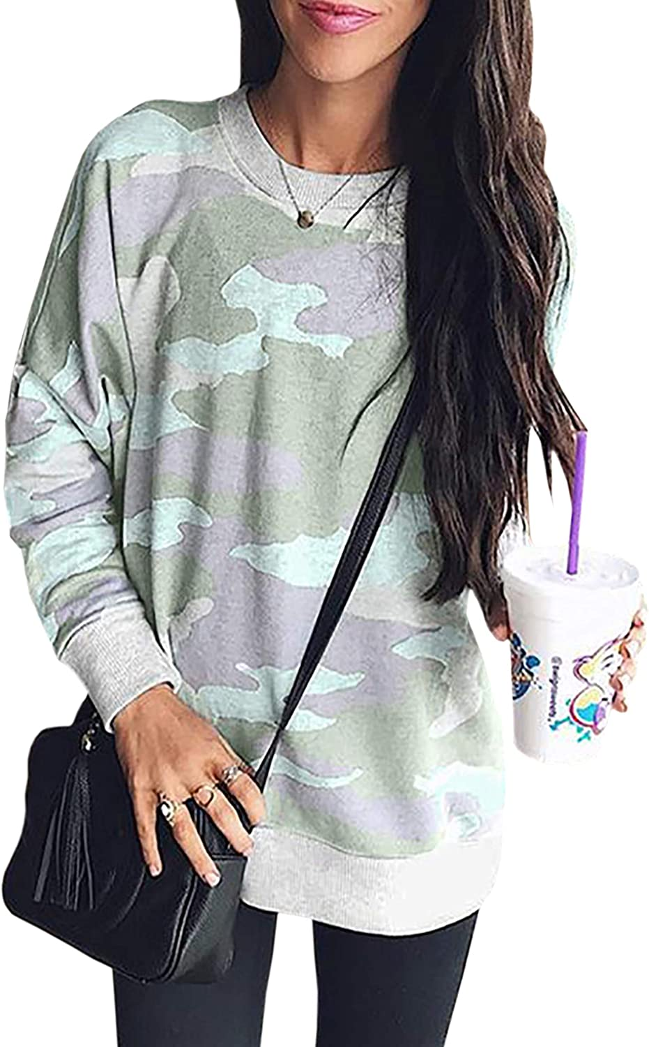 ECOWISH Women's Camouflage Print Casual Leopard Pullover Long Sleeve Sweatshirts Top Blouse