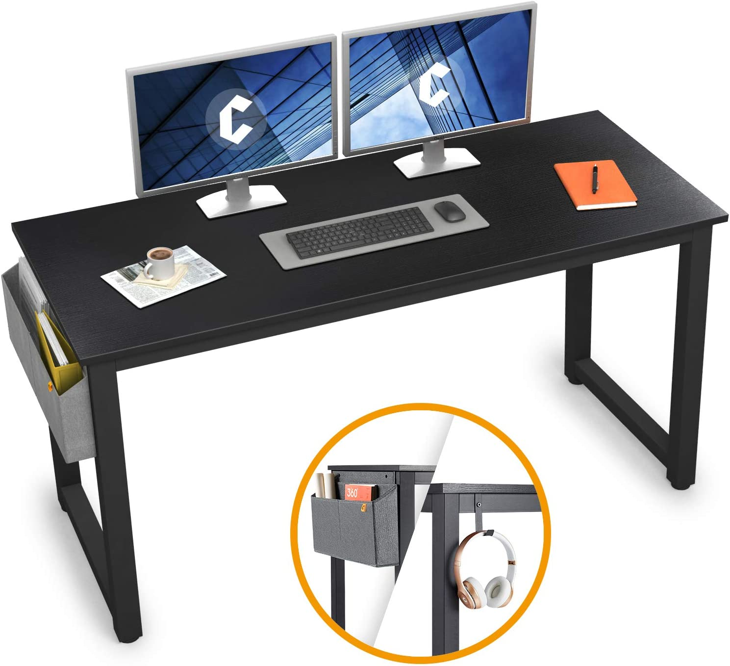 """Cubiker Computer Desk 47"""" Sturdy Office Desk Modern Simple Style Table for Home Office, Notebook Writing Desk with Extra Strong Legs, Black"""