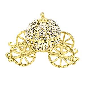 Hophen Gold Pumpkin Carriage Decorative Rhinestones Hinged Jewelry Trinket Box Figurine Collectible Ornament