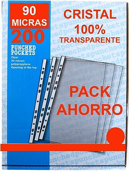 Fundas Multitaladro Cristal 90 Micras Ecologic Tamaño Folio Pack Ahorro Súper Económico de 200 Hojas Multitaladro de Máximo Grosor y Durabilidad fabricadas con Polipropileno Reciclable: Amazon.es: Oficina y papelería