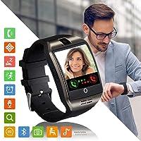 Montre Connectée Femmes Homme Enfant Bracelet Connecté Smartwatch Soutien Carte SIM Synchronisation Appels SMS Notifications Smart Watch Compatible avec Android Samsung Xiaomi Huawei iPhone (Noir)