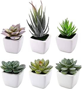 Suwimut Set of 6 Artificial Succulent Plants, Small Green Fake Potted Plants in Square White Ceramic Pots for Home, Office, Desk Decor