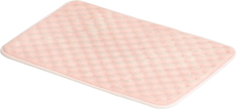AmazonBasics Rippled Memory Foam Bath Mat - Small, Pink