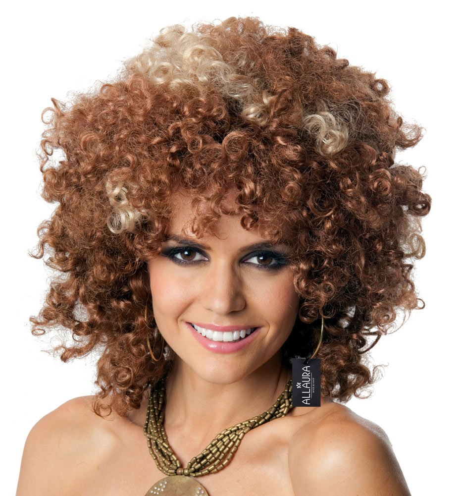 ALLAURA 60s and 70s Afro Wig for Women! Big Brown Blonde Short Curly Disco Costume Wigs