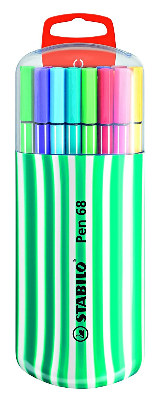 Premium Felt Tip Pen STABILO Pen 68 Zebrui 20 Assorted Colours with Hanging Device